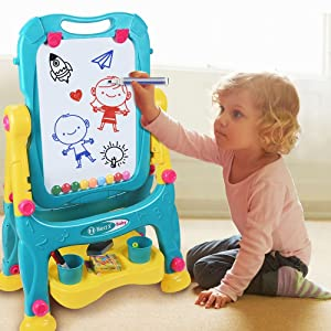 2 - Tomons Art Easel For Kids, Double-Sided Magnetic Dry Erase Board And Chalk Board Adjustable Standing Kids Easel For Toddlers Boys And Girls