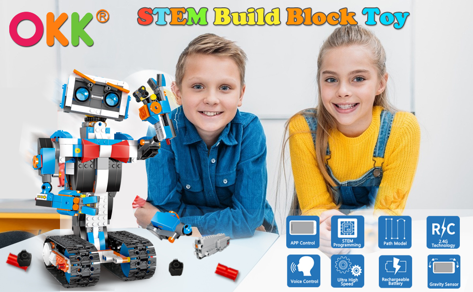 a4bd072c b847 4df8 bed0 271ed0eebf56.  CR0,0,970,600 PT0 SX970 V1    - okk STEM Robot Building Block Toy for Kids, Remote and APP Controlled Engineering Science Educational Assembling Learning Kits Intelligent Rechargeable Creative Set for Boys Girls Gift (635 Pieces)