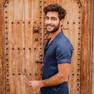 men's casual button down linen shirt
