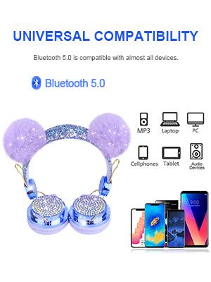 Kids Headphones Wireless POM POM Bear Ear Bluetooth Headset w/Mic Over On Ear Headset for Girls