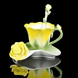 Yellow Rose Shape Design Tea Cup and Saucer Set