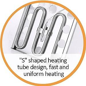 S shaped heating tube