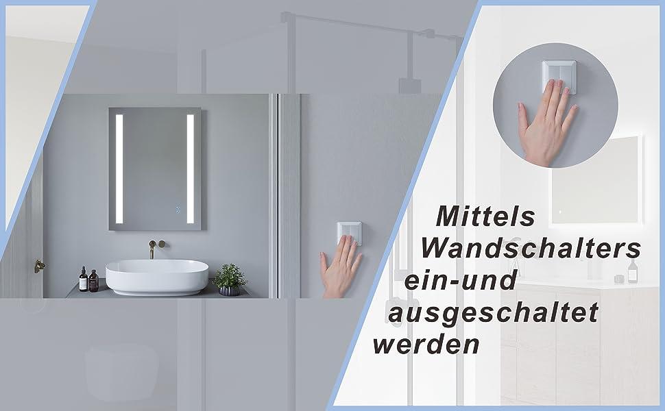 Badspiegel mit LED Beleuchtung Lichtspiegel 60x80cm CANNES Typ B