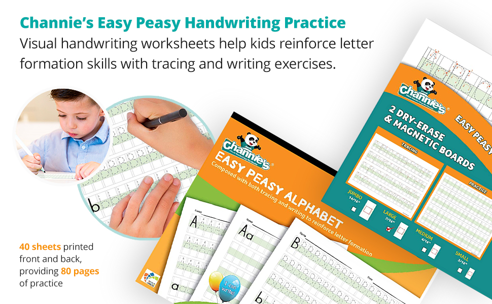 Visual handwriting worksheets help kids reinforce letter formation skills with tracing