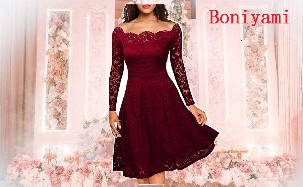 boniyami women lace off shoulder cocktail dress