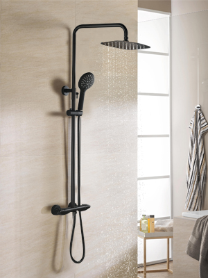 BULUXE Black Exposed Shower System with Hand Shower
