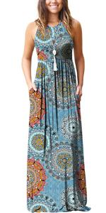 GRECERELLE Women's Summer Sleeveless Racerback Loose Plain Maxi Dress Floral Print Casual Long Dress