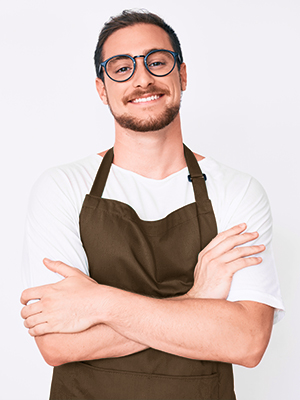 thick polyester brown apron