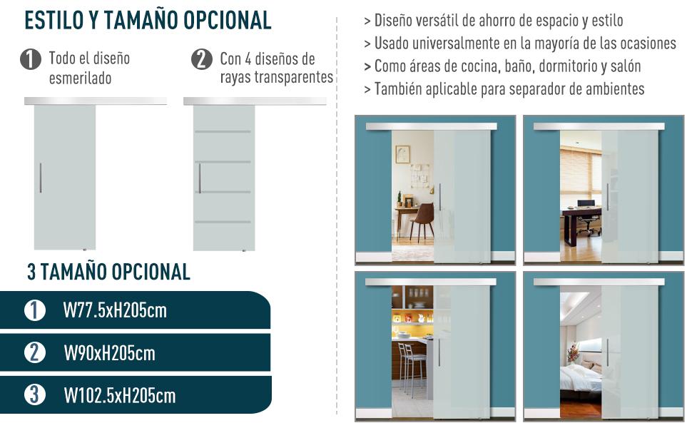 HOMCOM Puerta Corredera 205x77.5cm Puertas Correderas Satinada ...