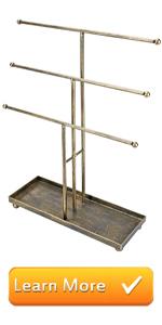 3 tier t-bar jewelry rack organizer tower holder sorter necklaces bracelets earrings rings in brass