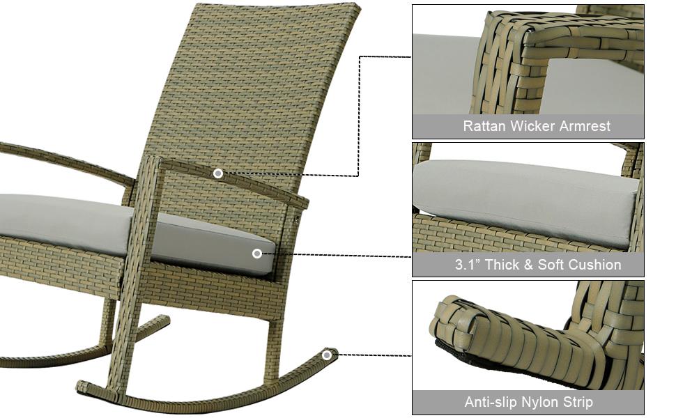 rattan wicker rocker chair