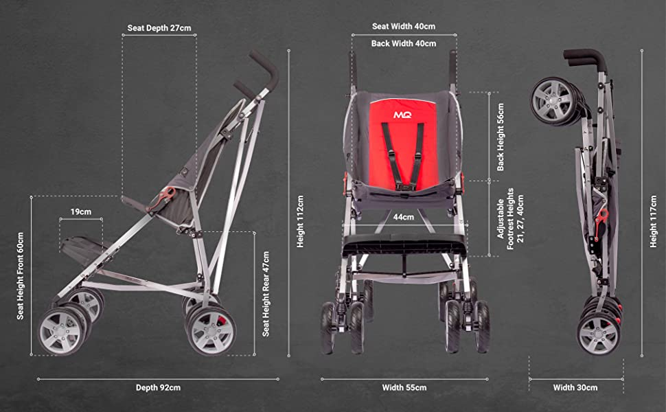 full dimensions for Mobiquip elise special needs stroller
