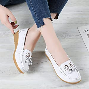 Women Summer Leather Slip On Ballet Shoes Moccasins Oxfords Loafers Flat Shoe