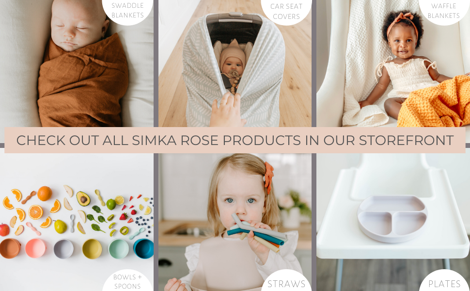 simka rose baby products baby plates bowls swaddle blankets spoons multi use covers and more