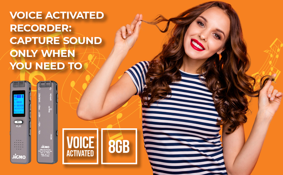 voice activated recorder 8gb dictaphone micro usb to usb a cable 384 kbps crystal clear microphone