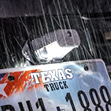 Black Surface-Mount License Plate Light Installed on Trailer.