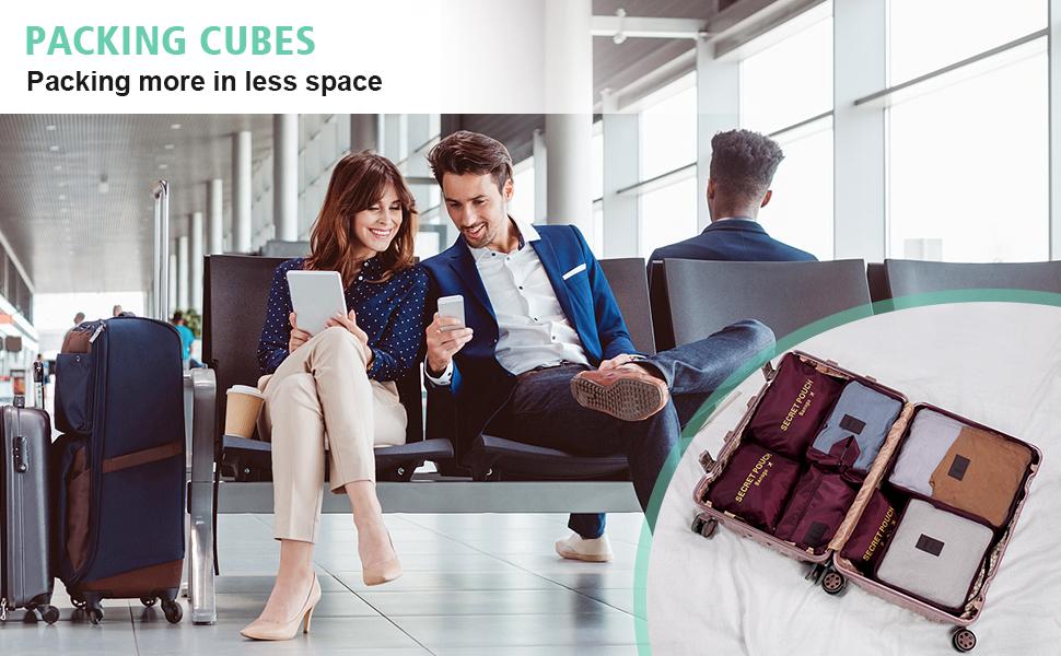 3 Sacchetti Borsa 3 Cubi di Imballaggio Perfetto di Viaggio Dei Bagagli Organizzatore (Blue Flower) 6 Set Sistema di Cubo di Viaggio