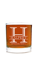 personalized etched whiskey glass for birthday with custom text and age