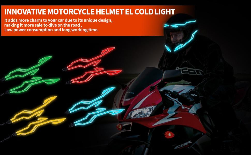 helmet decoration el wire leds light helmet light