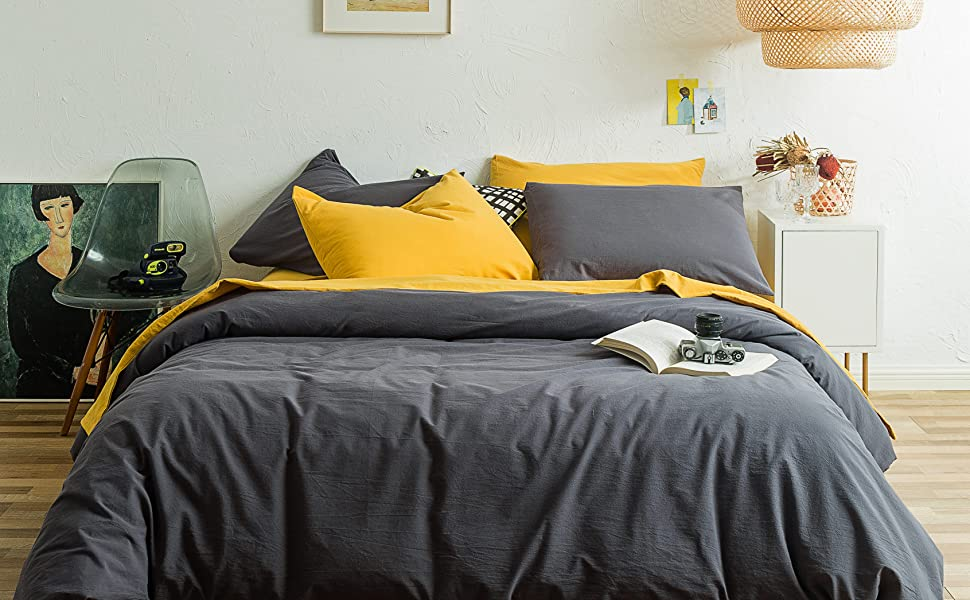 washed cotton gray duvet cover set