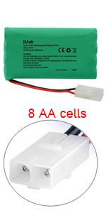 iMah 9.6V AA Battery Pack 2000mAh Ni-MH with Standard Female Tamiya Connector
