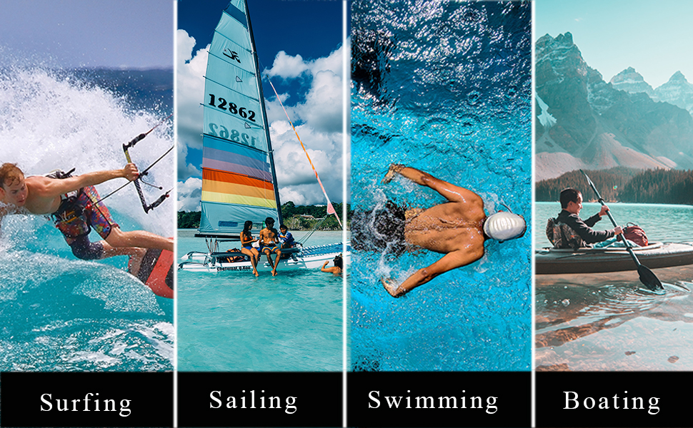 Surfing, sailing, swimming, boating