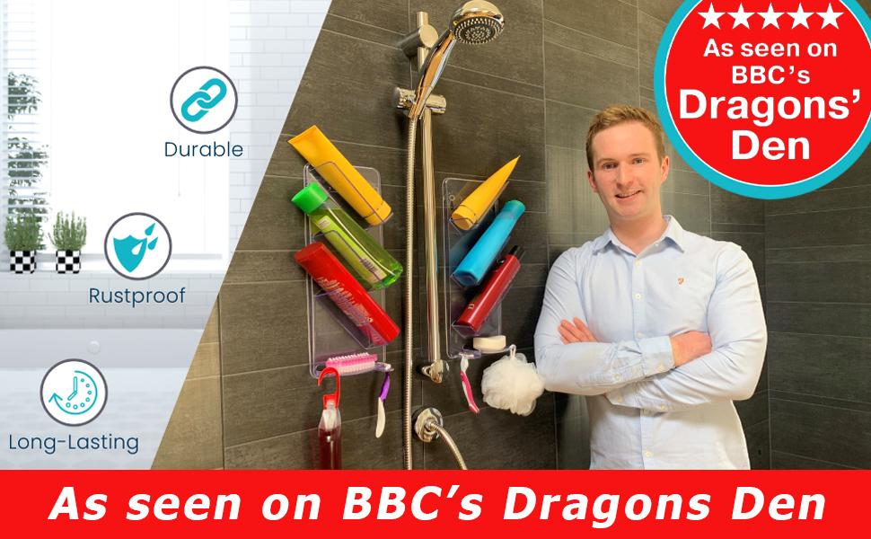Wiszący organizer prysznicowy na telewizorze BBC Dragons Den