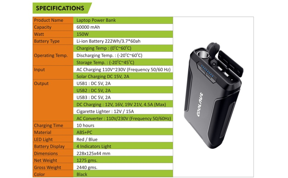 Coolnut Power Bank Specifications
