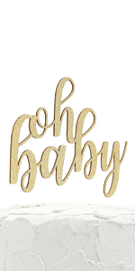 gold oh baby cake topper