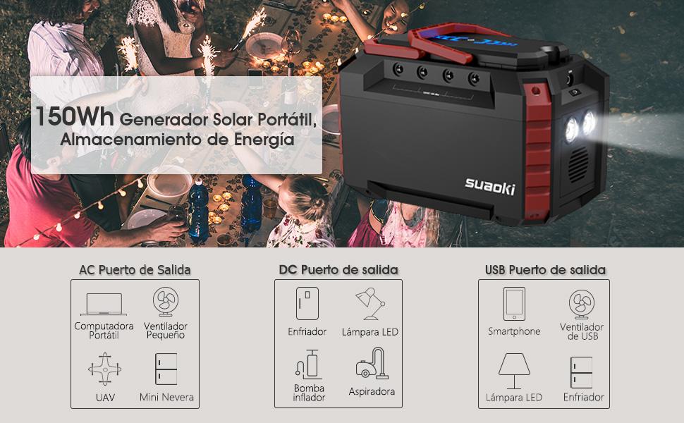 SUAOKI Generador Solar Portátil 150Wh(3.7V 40500mAh), Generador de ...