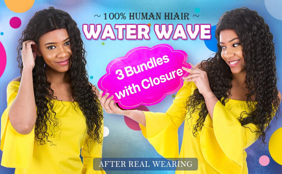 water wave bundles with closure brazilian vrigin hair weave bundles water wave hair with closure