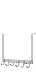 Perchero sin Taladro Perchero de para Ba/ño Dormitorio 6 Ganchos - Negro Ideal para Abrigos o como Toallero Cocina Percha Puerta para Ganchos Perchero de sobre Puerta Percha Colgar Puerta