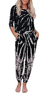 Selowin Women Tie Dye Sweatsuit