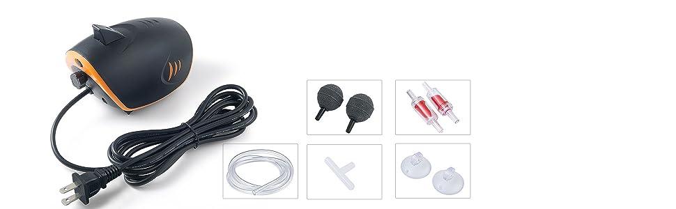 Aquarium air pump with accessories