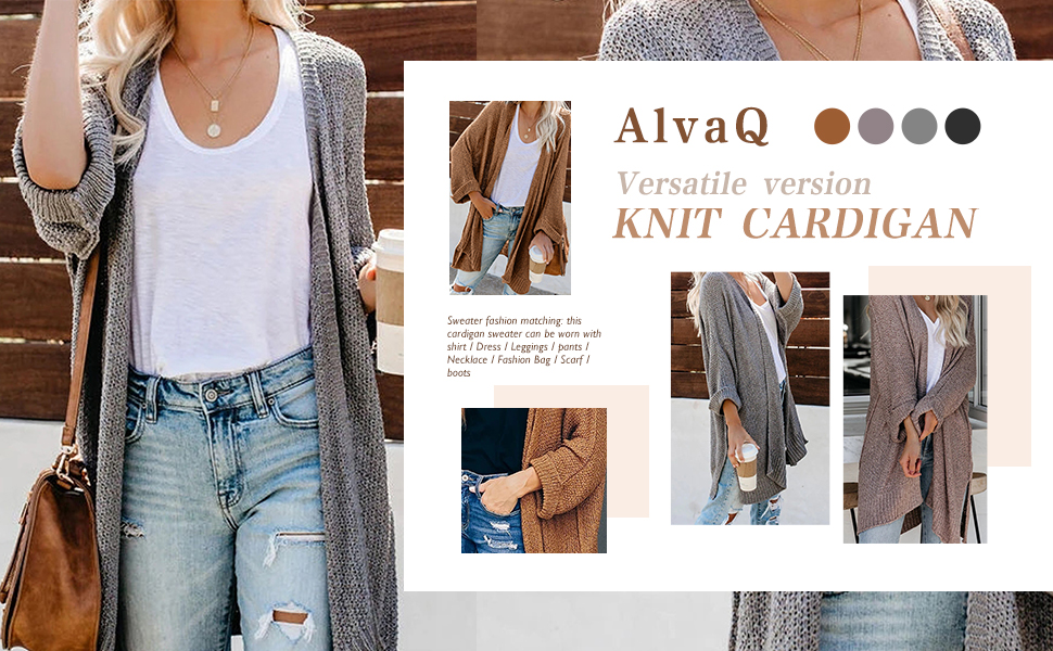 AlvaQ Women's Casual Long Sleeve Open Front Loose Cardigan Knitted Sweater