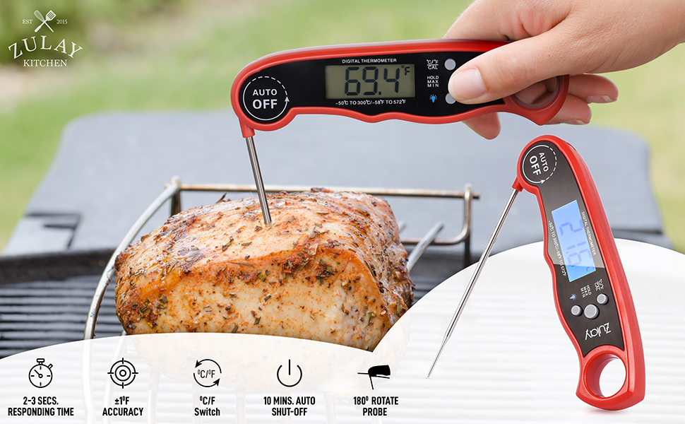 zulay kitchen digital meat instant read thermometer steak turkey meat grill cooking