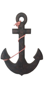 YUMBOR Rustic Nautical Wooden Anchor with Rope Crosses Wall Art Decor (Black)