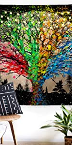 Trippy Moon Forest Tapestry Psychedelic Hippie Mystic Colorful Four Season Tree Tapestry Starry Sky