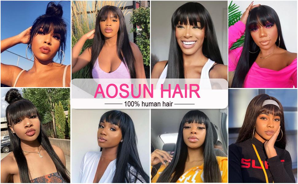 Aosun Hair Straight Human hair wigs with bangs