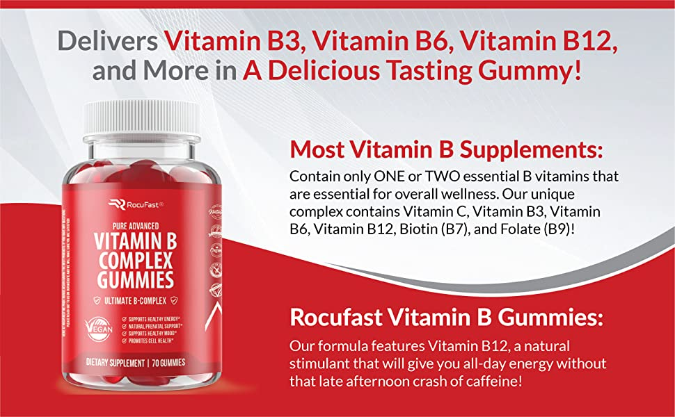 Energy Supplement, Vitamin B Energy Supplement, Energy for Men, Energy for Women, Vitamin B Gummies