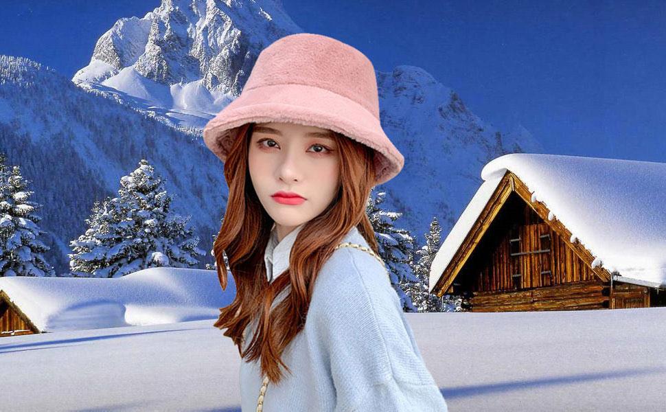 Pink Starinee Women's Cute Fall Winter Fashion Warm Cozy Faux Fur Fisherman Bucket Hat Cap