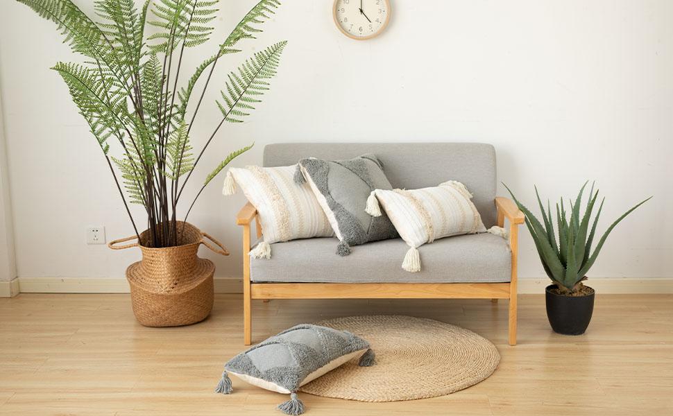 boho pillow cover woven grey lumbar pillow cover
