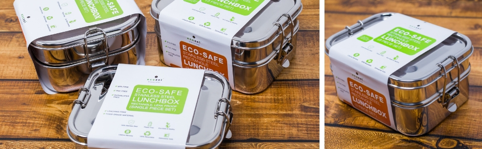 Leak Proof Stainless Steel 3 Compartment Eco Lunch Box Redesigned Silicone Seal & Easy To Open