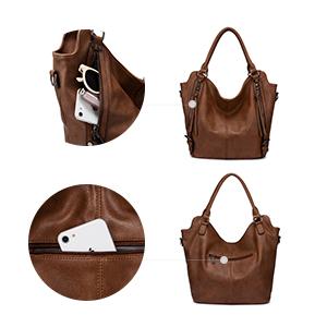 front zipper pockets women bags