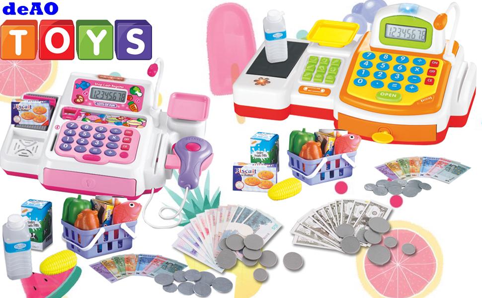 deAO Caja Registradora Electrónica de Juguete con Escáner, Micrófono, Cinta y Lector de Tarjetas Conjunto de Accesorios de Tienda y Supermercado Infantil Incluye Alimentos de Juguete (Rosa): Amazon.es: Juguetes y juegos