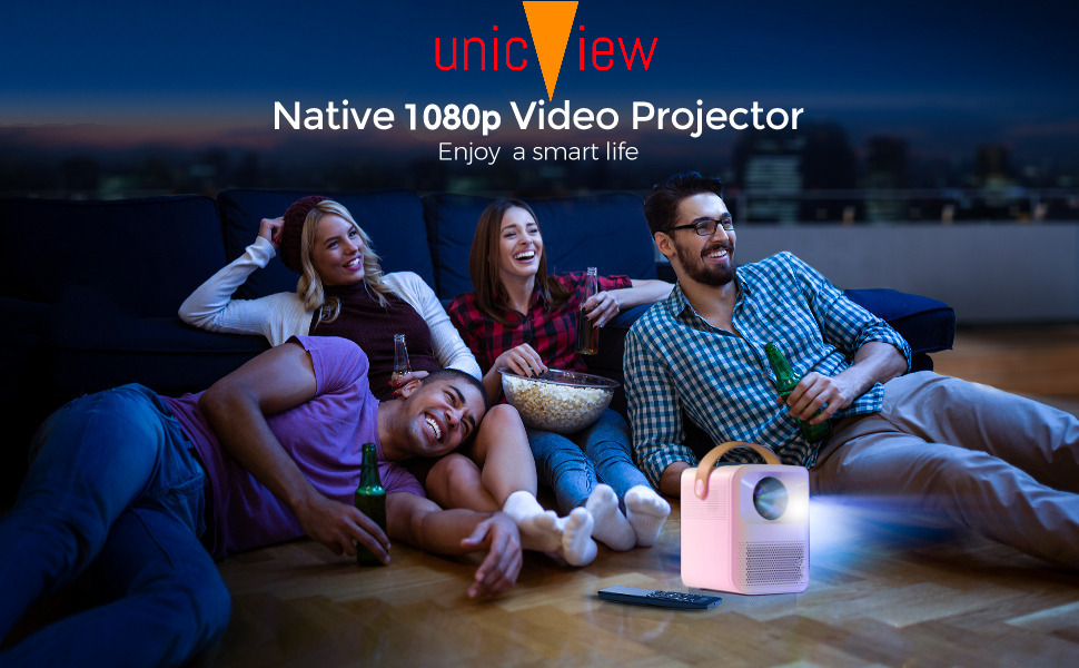 proyector portatil, unicview fhd1000, proyector 4k, proyector fullhd, 8000 lumenes, yaber, wimius