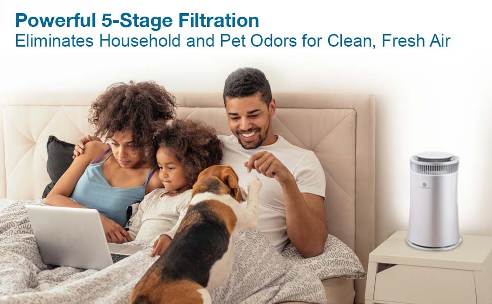 Air Purifier with powerful 5-stage filtration eliminates household & pet odors for clean, fresh air