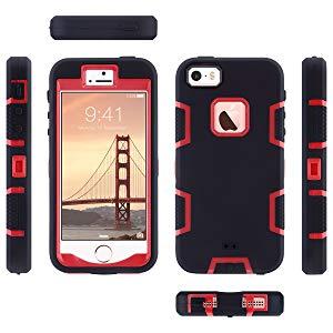 ULAK Funda iPhone SE 2016, iPhone 5/5S Estuche 3en1 a Prueba de Golpes de Estuche Parachoques de Resistente Caso de protección Suave de Silicona para Apple iPhone 5/5S/SE (2016) - Negro Rojo: