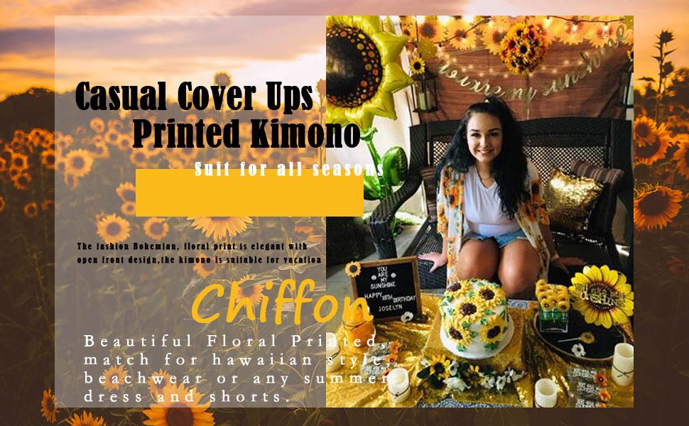 Short Sleeve Chiffon Floral Printed Kimono Cardigans