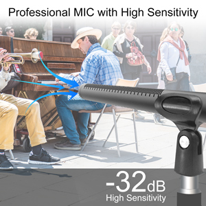 Suitable for Camcorders//Boom Poles//Tripods Professional Video//Audio Recording Shotgun Microphone SYNCO Mic-D2 Hyper-Cardioid Directional Condenser Mic with XLR Connector